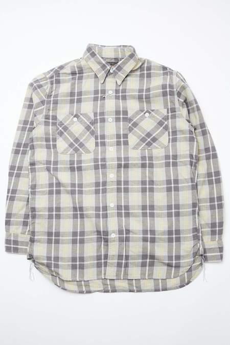 Beams Plus WORK Cotton Linen Flannel Check shirt - GREY