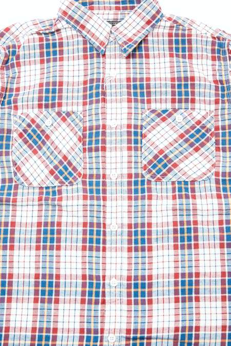Beams Plus WORK Cotton Linen Flannel Check shirt - RED