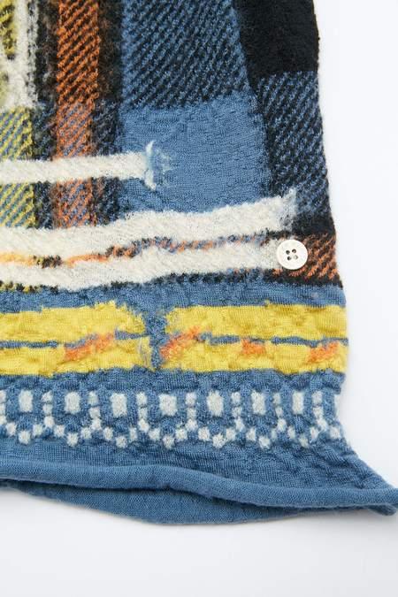 Kapital Compressed Wool AINU TARTAN Scarf - Blue