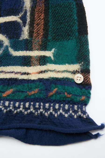 Kapital Compressed Wool AINU TARTAN Scarf - Navy