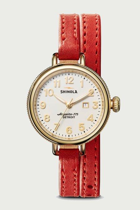 Shinola Birdy 3HD 34mm Watch - White/Fiesta Leather Strap