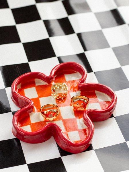 Good Girl Pottery Checkered Flower Dish