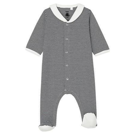 Kids Petit Bateau Marmeleo Pyjama With Feet Navy Blue Stripes - White