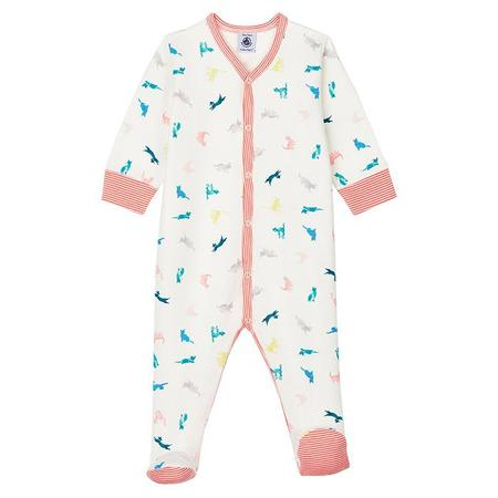 Kids Petit Bateau Minou Pyjamas With Feet Pink Cat Print - Cream