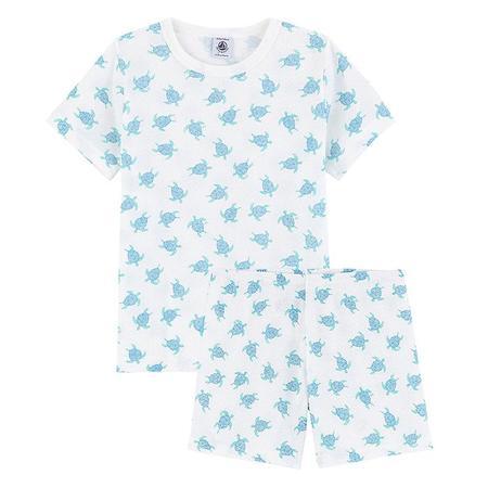 kids Petit Bateau Child Marly Short Sleeved Turtle Print Pyjamas - Blue