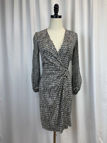 [pre-loved] Diane von Furstenberg Wrap Dress - Black/White