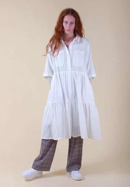 NEUL Emma Tiered Shirt Dress - white