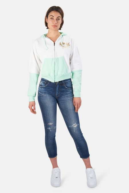 Blue&Cream Skull Colorblock Crop Hoodie Sweater - White/Gold