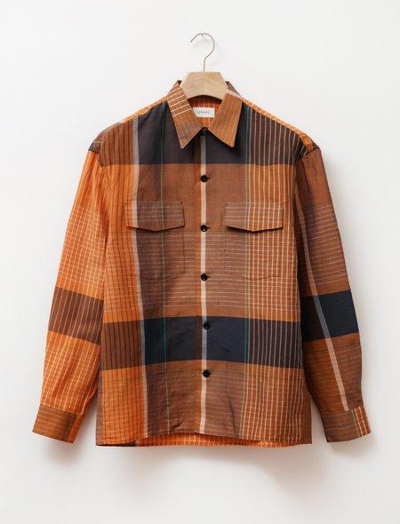 Lemaire Convertible Collar Shirt - Orange/Brown