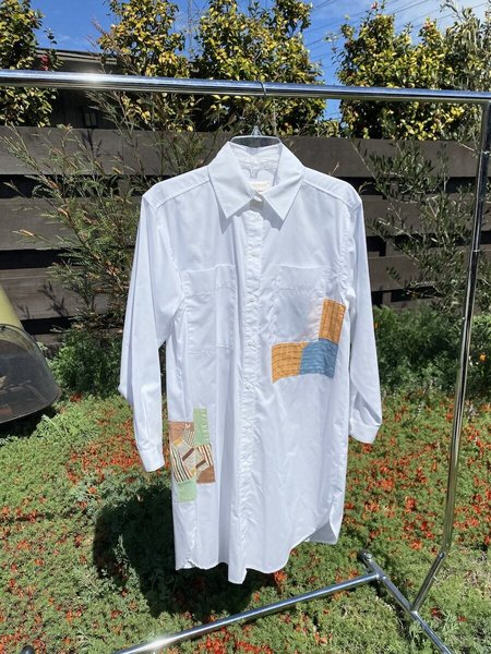Carleen Patchwork Roadtrip Shirtdress - White