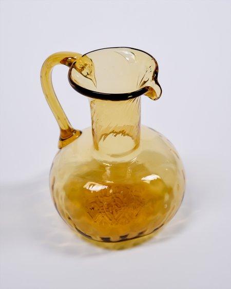 Vintage Blown Glass Pitcher - Amber