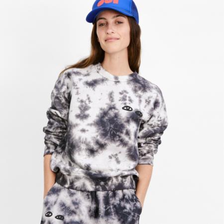 Clare V. Sweatshirt - Black/White Tie-Fye