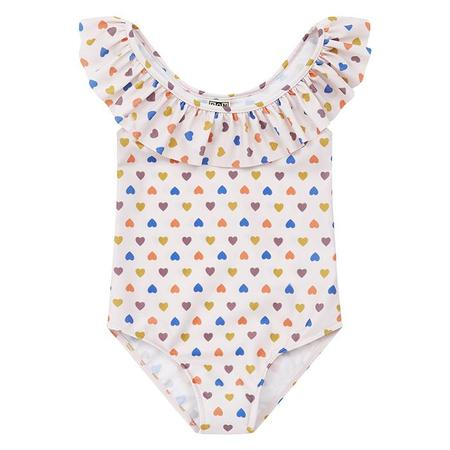 Kids Bonton Amore Swimsuit With All Over Heart Print - Pink