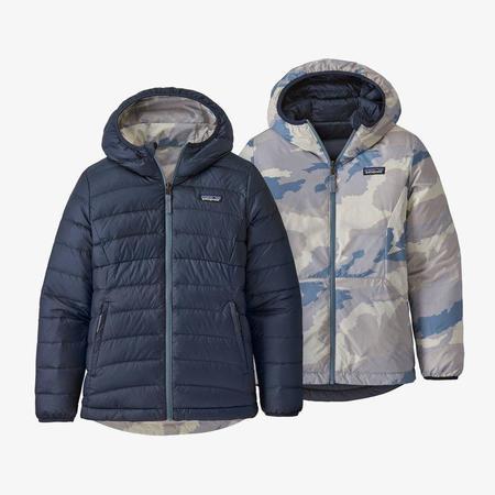 Kids Patagonia Reversible Down Sweater Hoody - New Navy