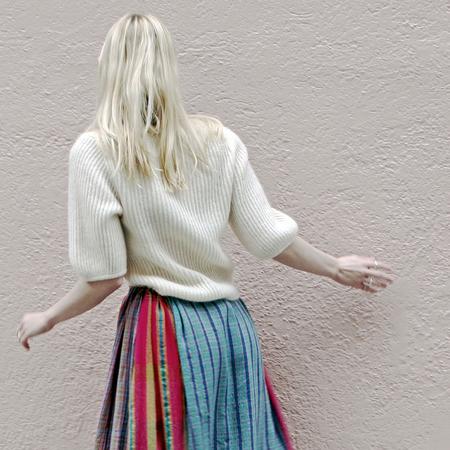 Amomento Kid Mohair Half Sleeve Pullover - Beige + Ivory
