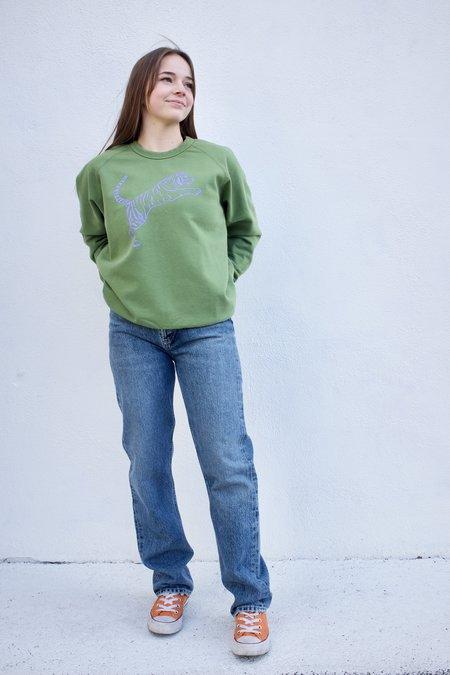 Clare V. Tiger Sweatshirt - Moss/Violet