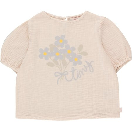 kids tinycottons tiny flowers puff shirt - light cream