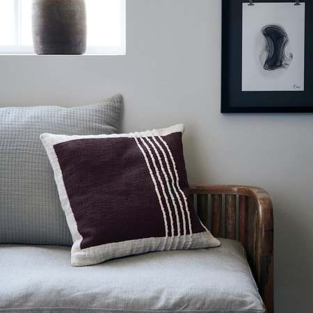 House Doctor Yarn square lines cushion cover - brown