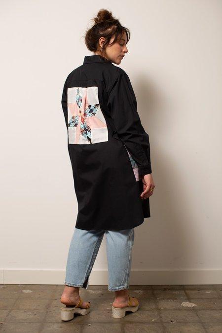 Carleen Patchwork Shirtdress - Black