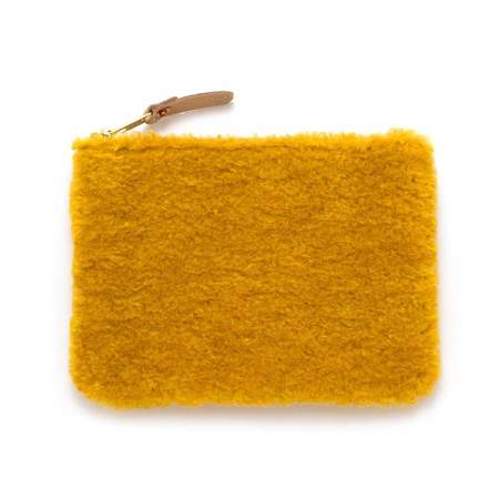 Mabel and Moss Faux Fur Zipper Pouch bag - Marigold