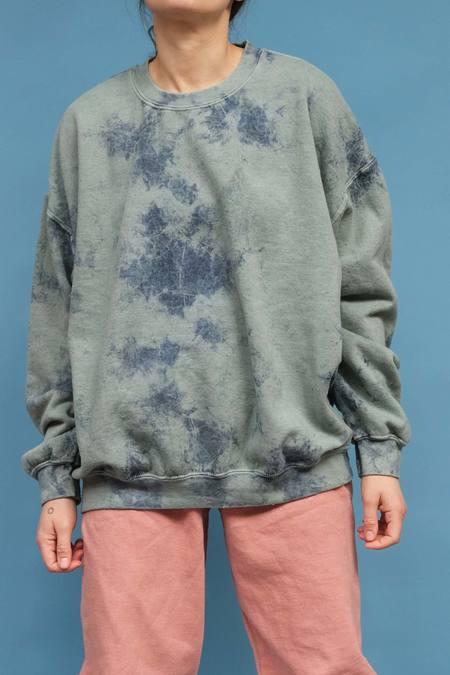 WOLF & GYPSY VINTAGE Hand Tie Dye Oversized Sweatshirt - Mint Green