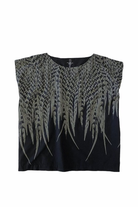 Uzi Nyc Feather Tunic Top - Black