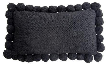 Pampa Monte Lumbar Pom Pom Cushion - Black