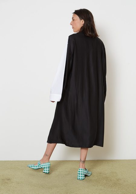 Maison Margiela MM6 Cotton Poplin Two Tone Shirt Dress - Black/White
