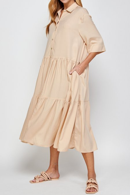 a mente Button front tired skirt midi dress - Butter