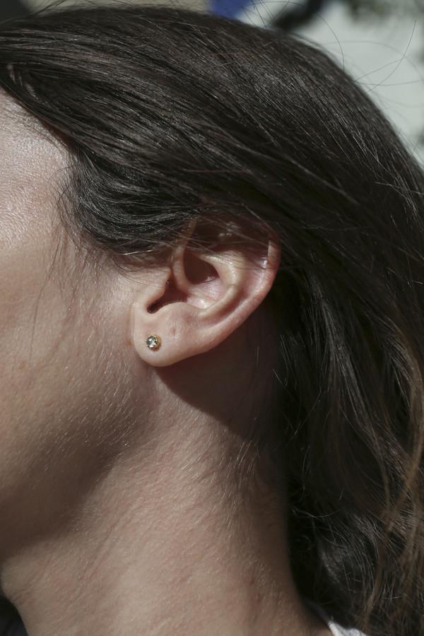 Grace Lee Petite Crown Bezel Moonstone Earrings