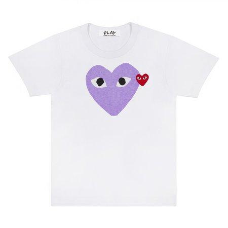 Comme des Garçons Big Purple Heart Tee - white