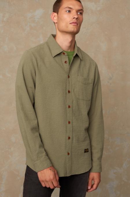 Kings Of Indigo Enda Shirt - Seersucker Loden Green