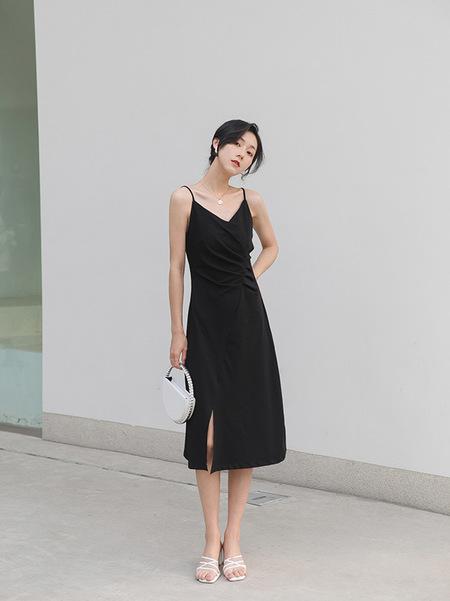 OPUSION Spaghetti Straps Midi Asymmetrical Dress- Lime/Black/White