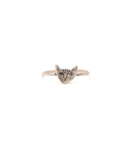 Datter Industries Silver Tiny Cat Face Ring
