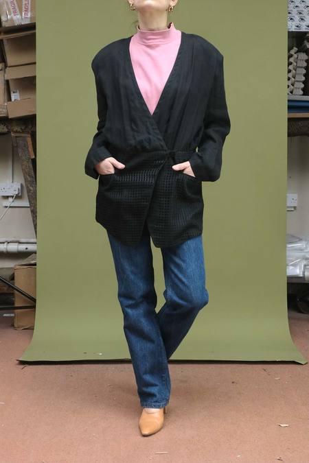 Vintage 1980s Marc Cain Linen Jacket - Black