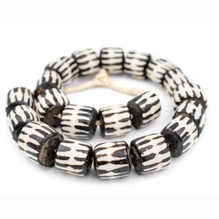 The Bead Chest Chevron Batik Bone Beads - Ivory/Black