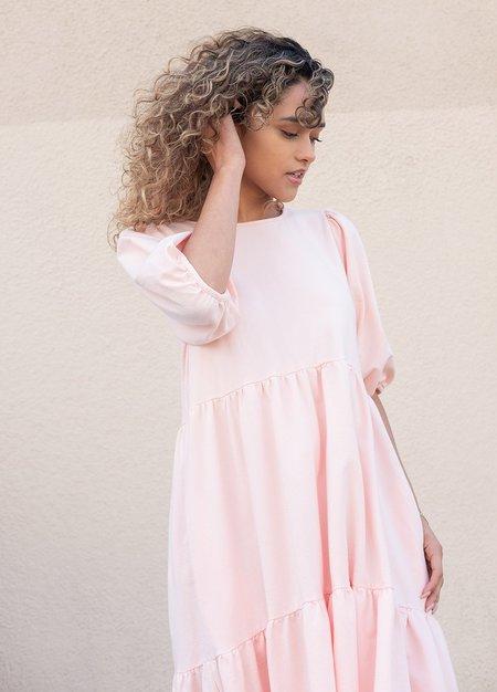 Ali Golden Party Dress - Blush
