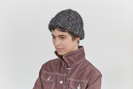 Clyde Fold Knit Hat in Back and White Melange