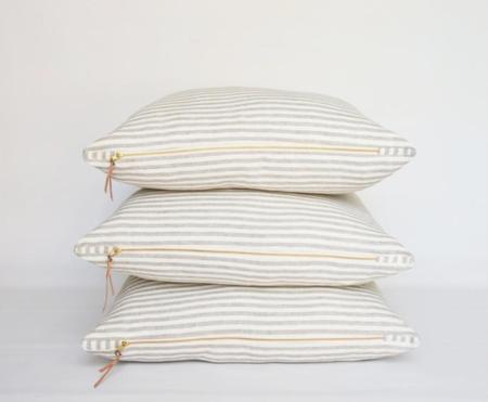 Celina Mancurti Woven Stripe Linen Floor Pillow - Oatmeal/Ivory Stripe