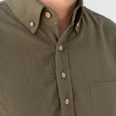 3Sixteen Popover Short-Sleeve Shirt - Olive Seersucker