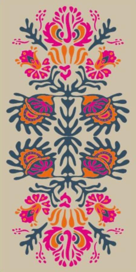 Les Belles Vagabondes Folk Cotton Scarf - Fuchsia