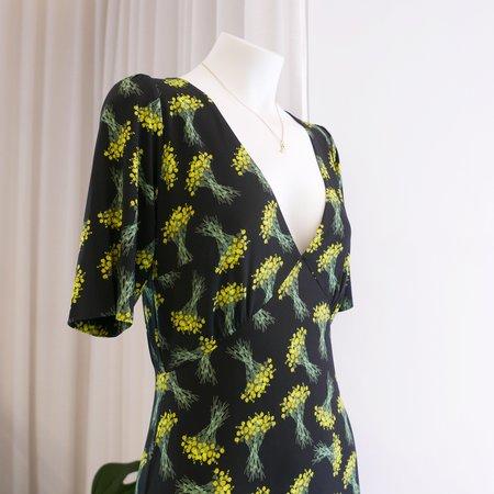 BERNADETTE Chrissy Falling Bouquet Print Dress - Yellow/Black