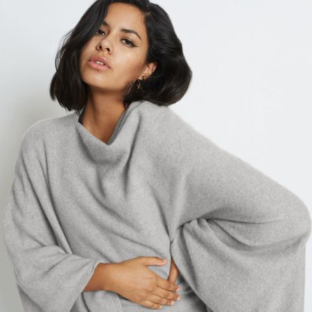 Santicler JENICA CASHMERE PONCHO sweater - HEATHER GREY