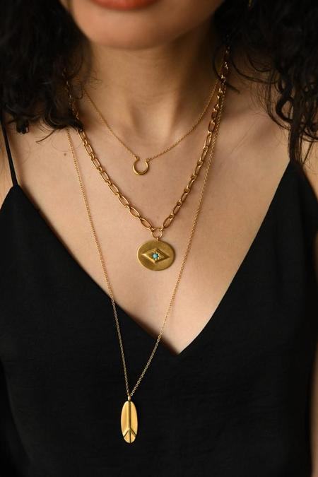 Sierra Winter Jewelry Eve Necklace - Gold Vermeil/Turquoise