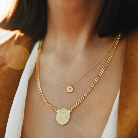Sierra Winter Jewelry Evil Eye Necklace - Gold Vermeil/Emerald