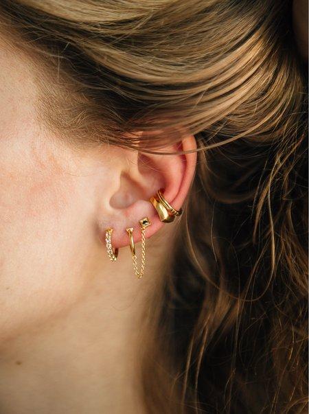 Sierra Winter Jewelry Thelma & Louise Hoop Earrings - Gold Vermeil/Black Diamond