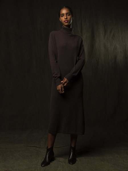 PURECASHMERE NYC Turtleneck Maxi Dress - Castle Brown