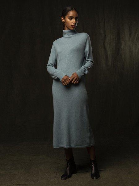 PURECASHMERE NYC Turtleneck Maxi Dress - Steel Blue