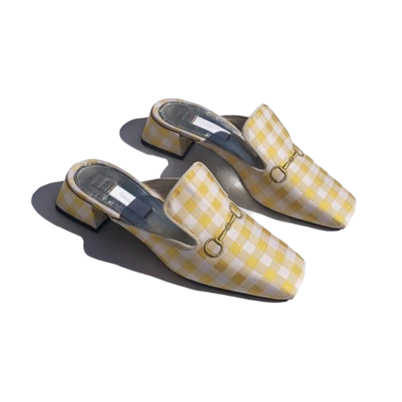 Suzanne Rae Vichy Low Mule - Yellow Gingham