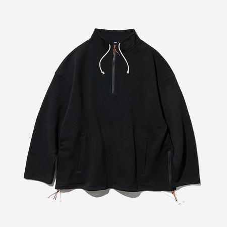 Uniform Bridge Terrycloth Pullover Zip Sweatshirt - Black